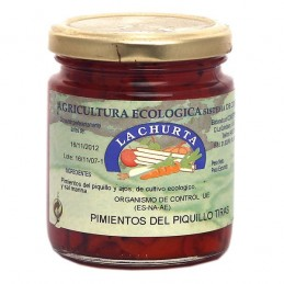 Pepper Organic Piquillo Strips with garlic 250g La Churta