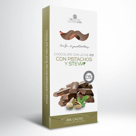 Milk Chocolate 45% with Pistachios and Stevia